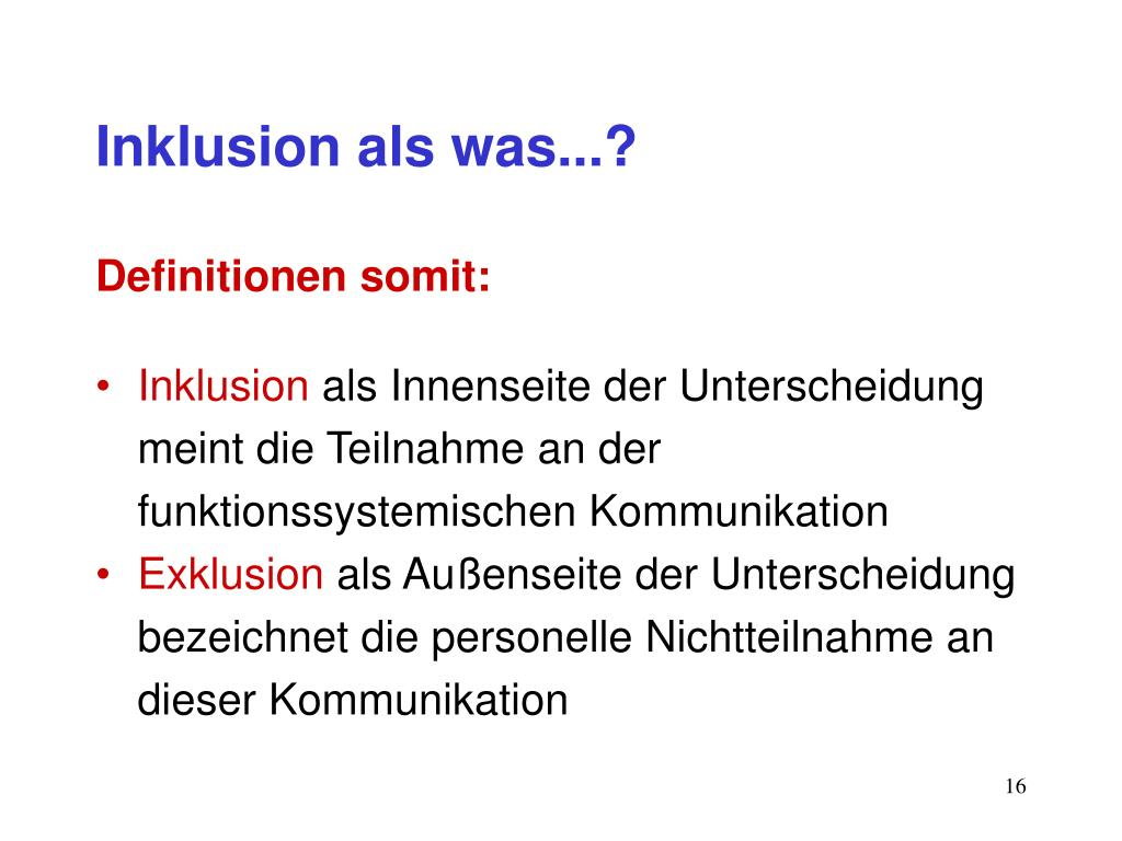 Inklusion als was...?