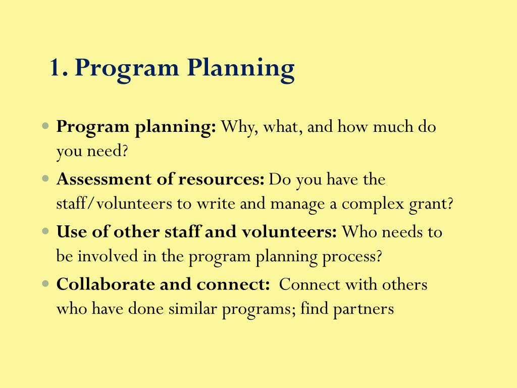 1. Program Planning