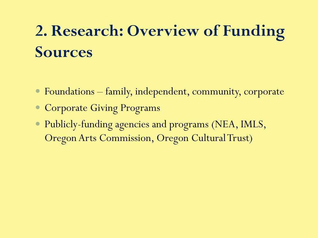 2. Research: Overview of Funding Sources
