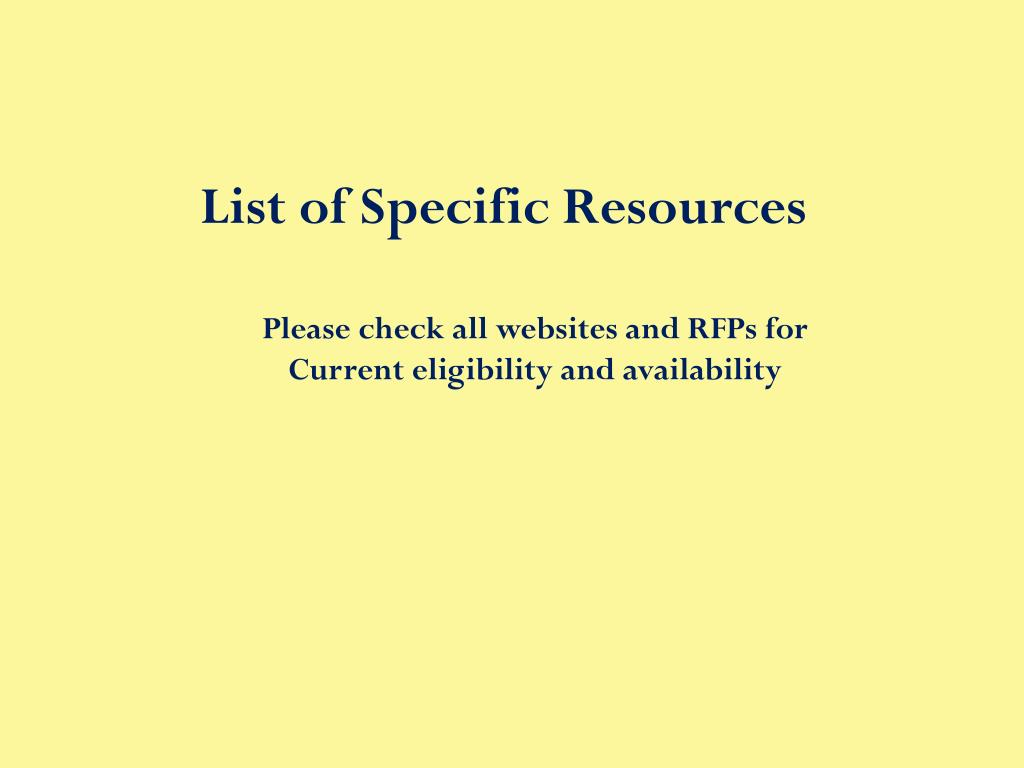 List of Specific Resources