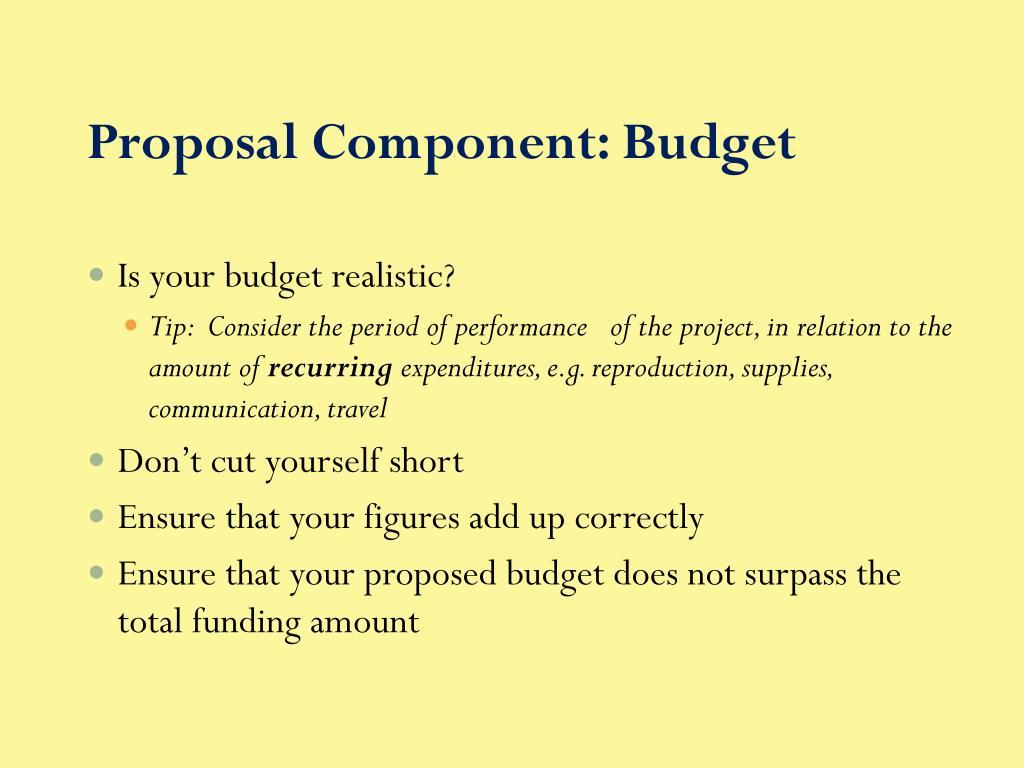 Proposal Component: Budget