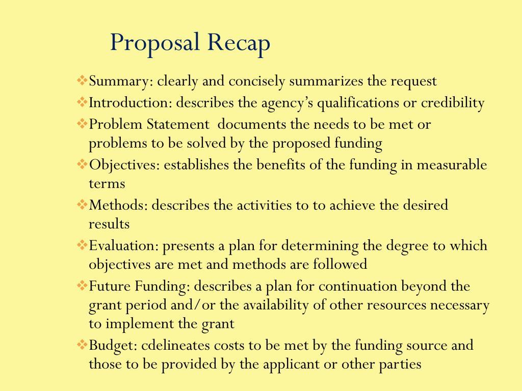 Proposal Recap