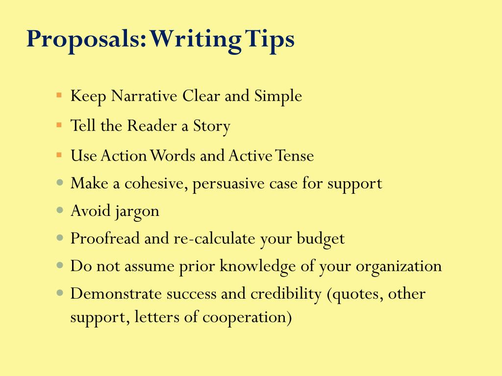 Proposals: Writing Tips