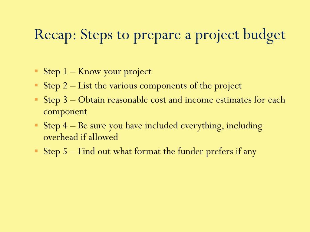 Recap: Steps to prepare a project budget