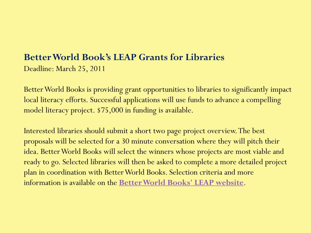 Better World Book's LEAP Grants for Libraries