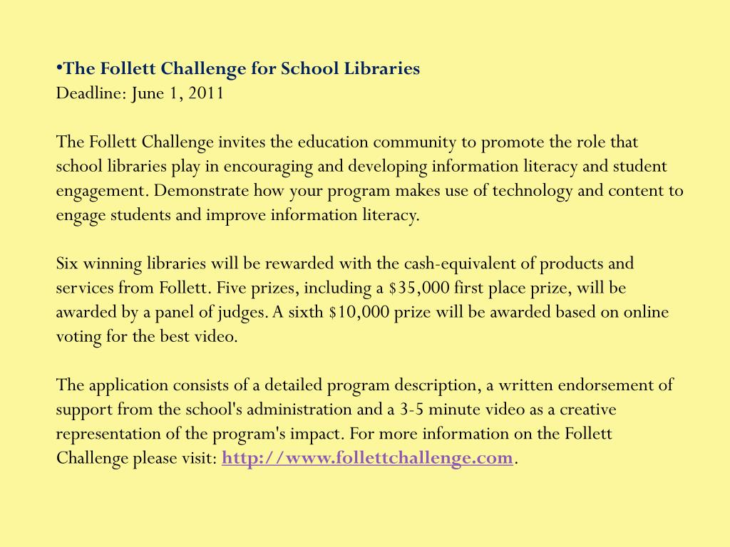 The Follett Challenge for School Libraries