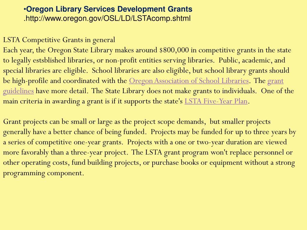 Oregon Library Services Development Grants