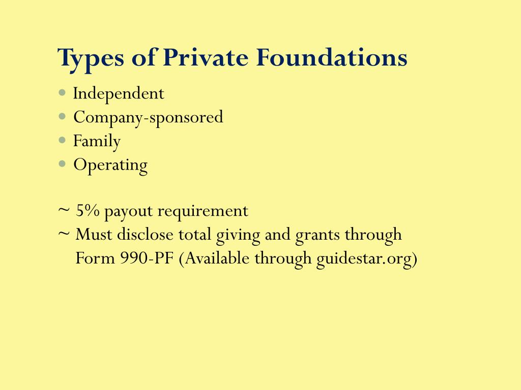 Types of Private Foundations