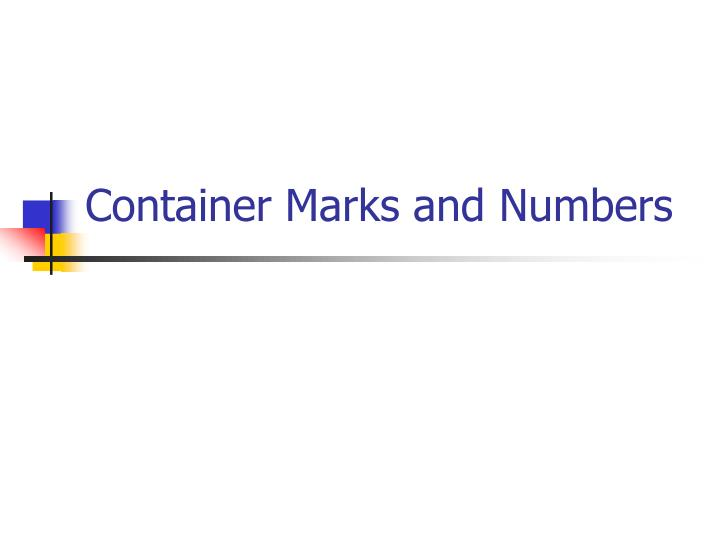 container marks and numbers n.
