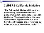 calpers california initiative