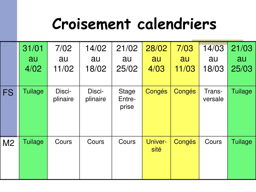 Croisement calendriers