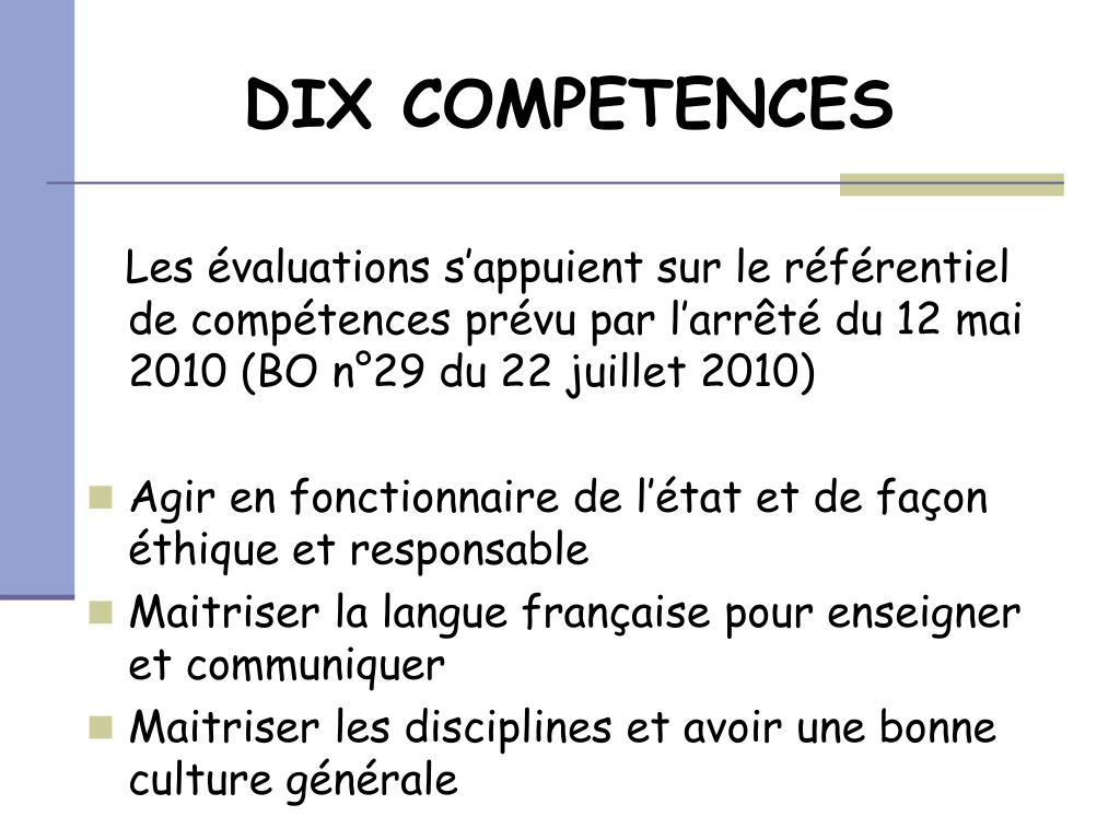 DIX COMPETENCES