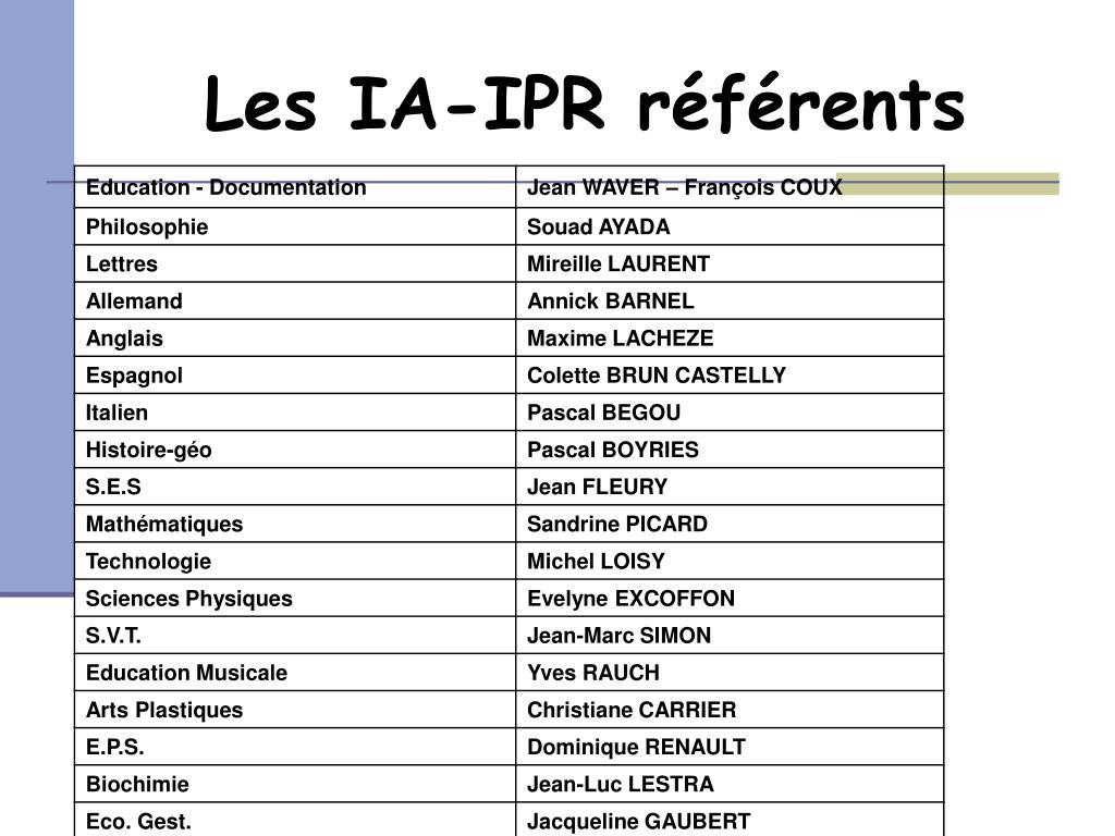 Les IA-IPR référents