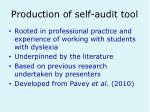 production of self audit tool