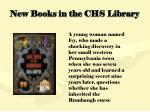 new books in the chs library102