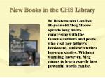 new books in the chs library72