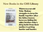 new books in the chs library88