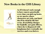 new books in the chs library93
