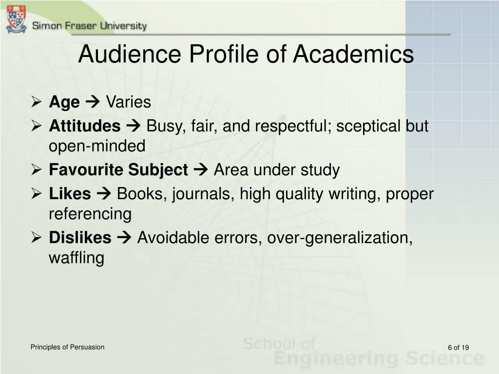 Audience Profile of Academics