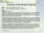 example of identification appeals