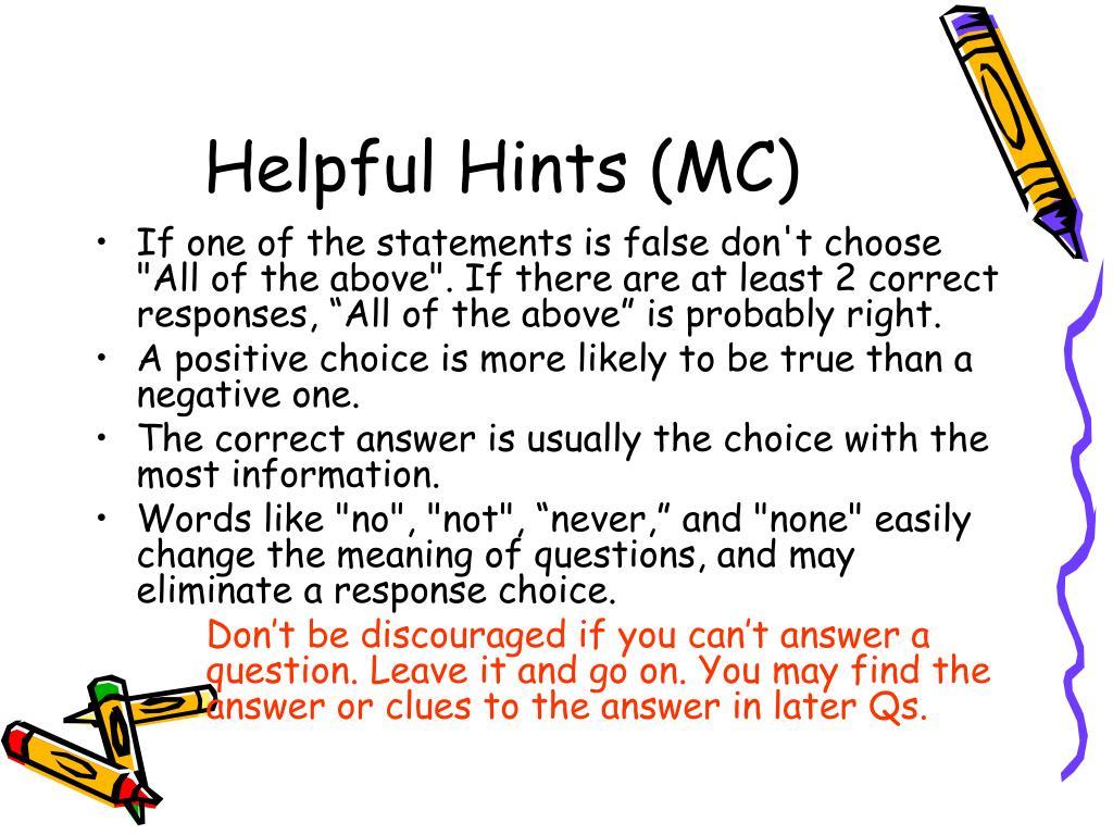 Helpful Hints (MC)