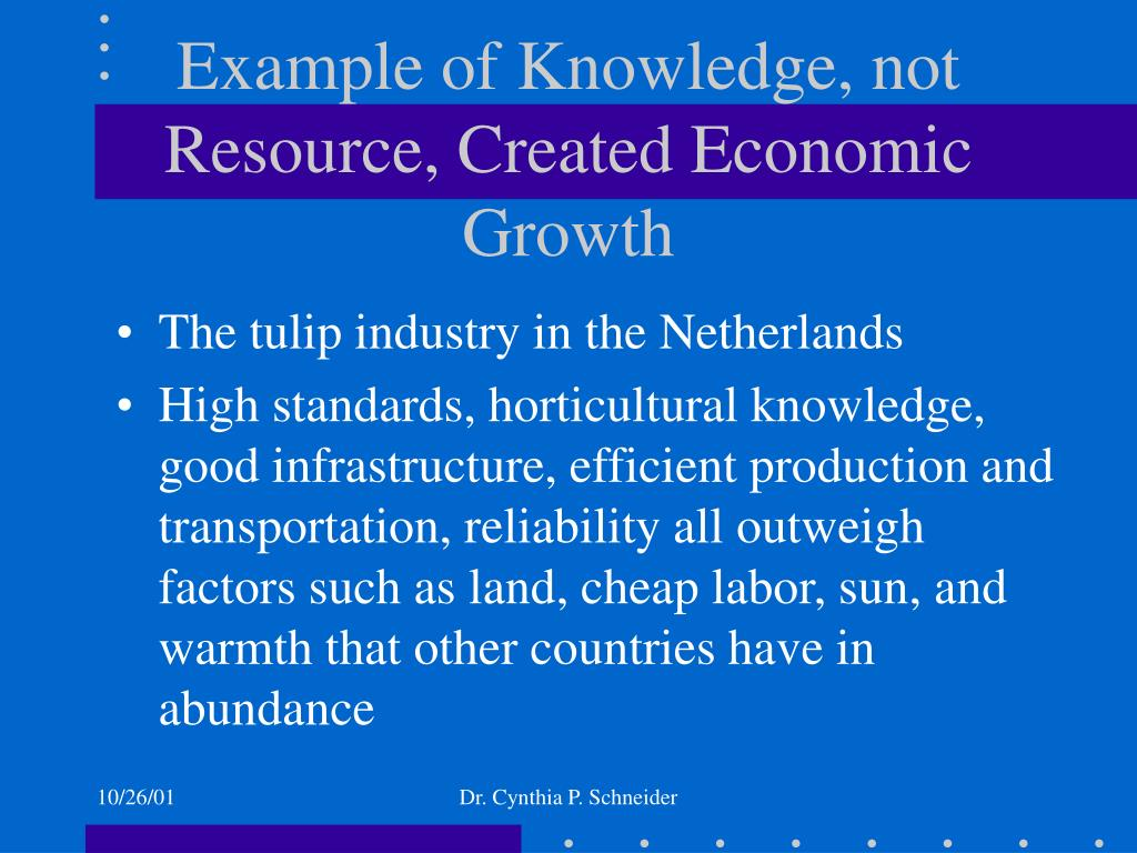 Example of Knowledge, not Resource, Created Economic Growth
