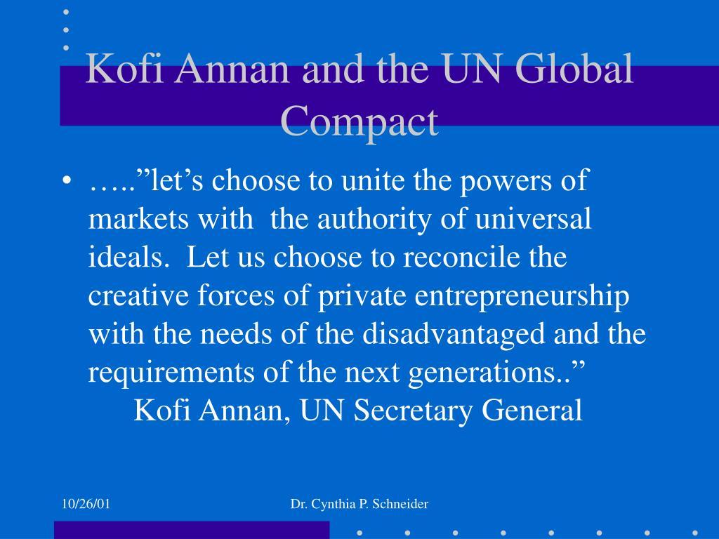 Kofi Annan and the UN Global Compact