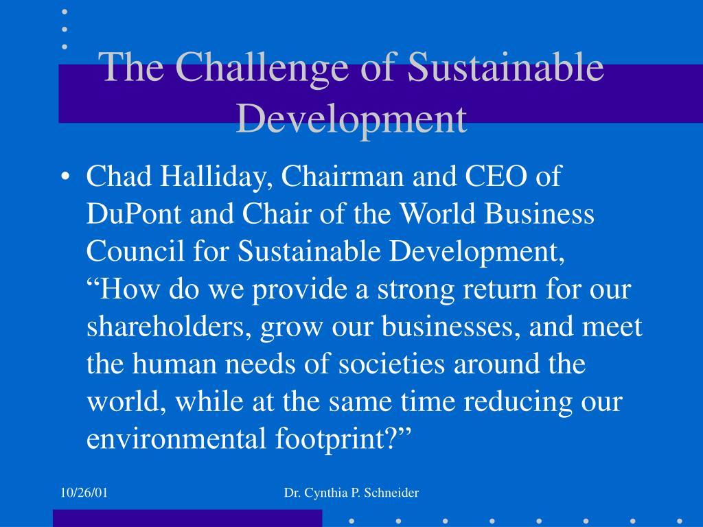 The Challenge of Sustainable Development