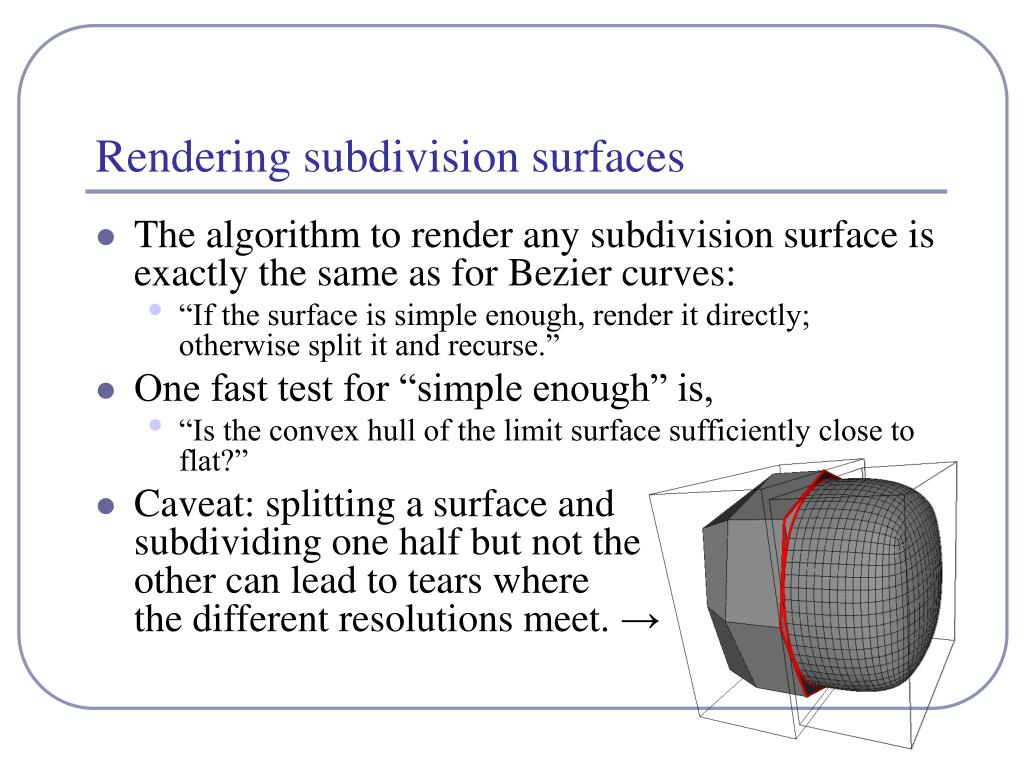 Rendering subdivision surfaces