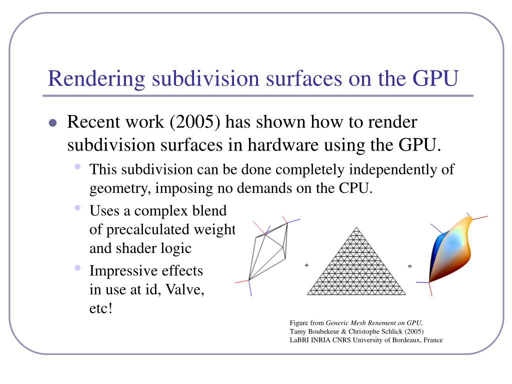 Rendering subdivision surfaces on the GPU