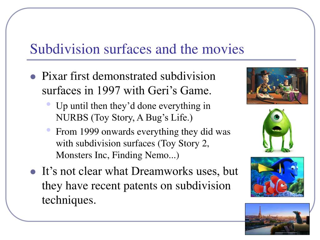 Subdivision surfaces and the movies