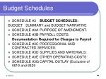 budget schedules