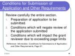 conditions for submission of application and other requirements
