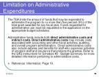 limitation on administrative expenditures