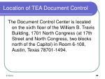 location of tea document control