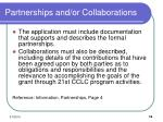 partnerships and or collaborations