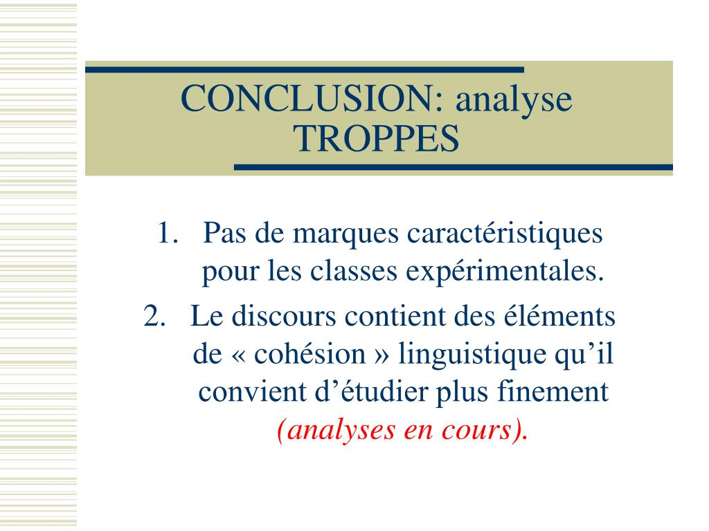 CONCLUSION: analyse TROPPES