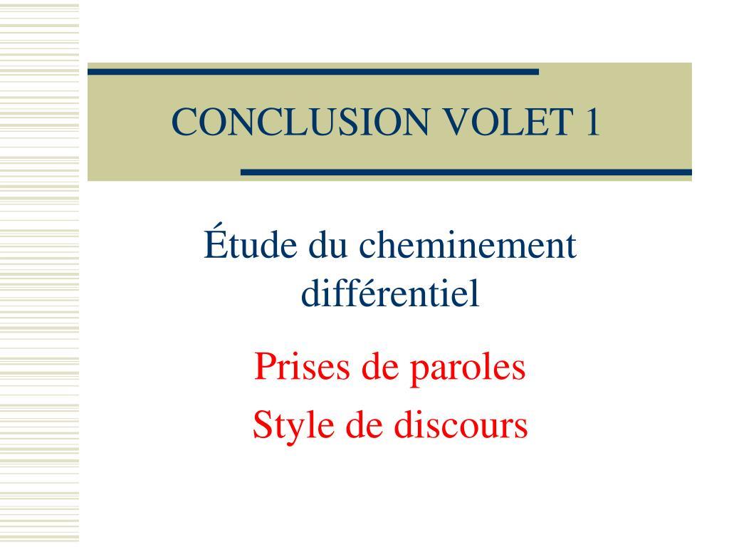 CONCLUSION VOLET 1
