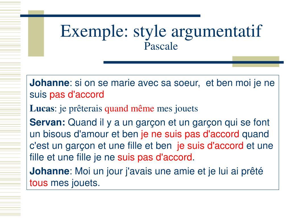 Exemple: style argumentatif