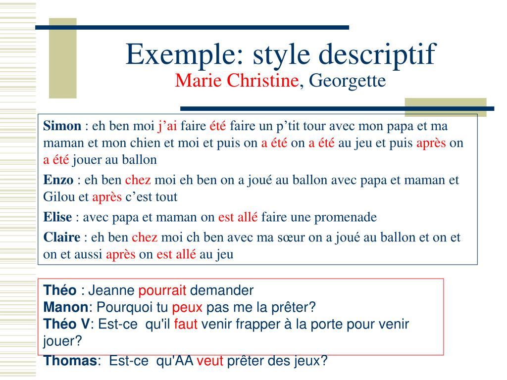 Exemple: style descriptif