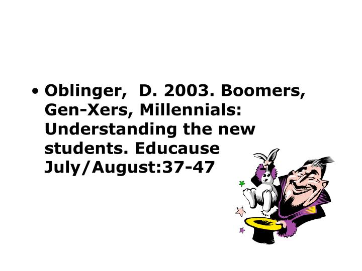 Oblinger,  D. 2003. Boomers, Gen-Xers, Millennials: Understanding the new students. Educause July/Au...