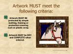 artwork must meet the following criteria