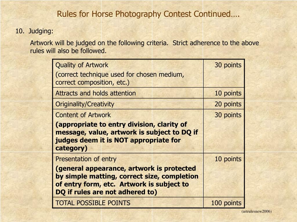 Rules for Horse Photography Contest Continued….