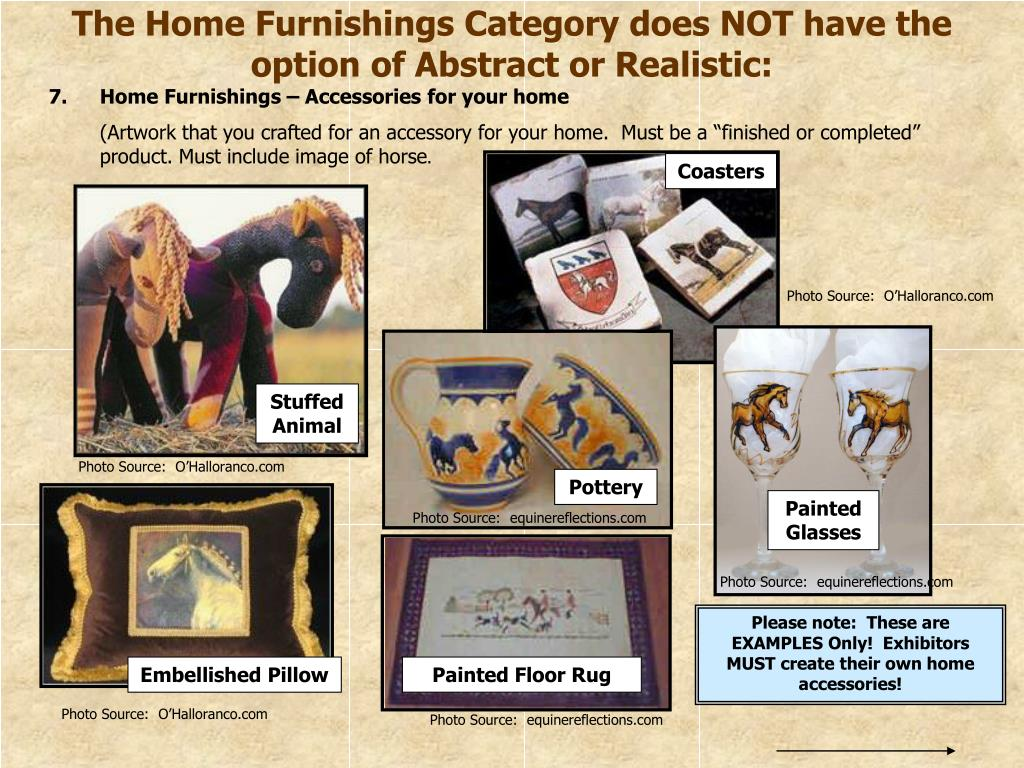 The Home Furnishings Category does NOT have the option of Abstract or Realistic:
