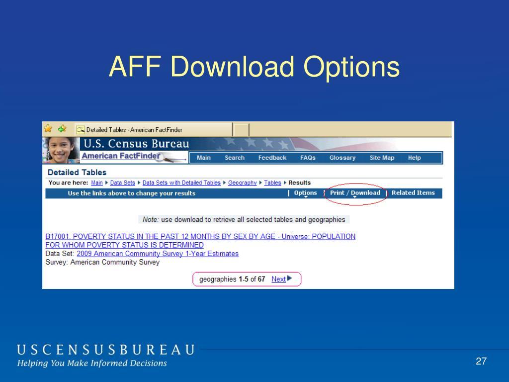 AFF Download Options