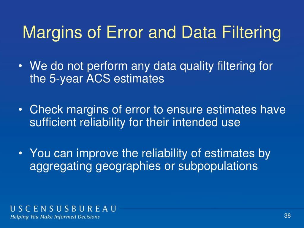 Margins of Error and Data Filtering
