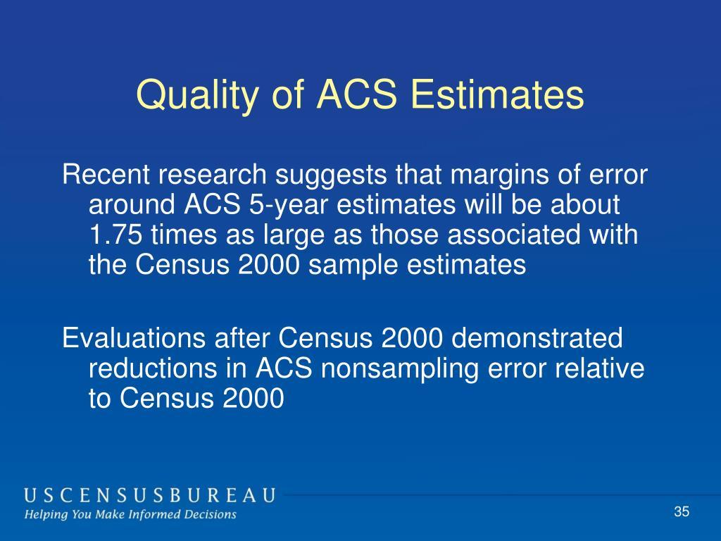 Quality of ACS Estimates