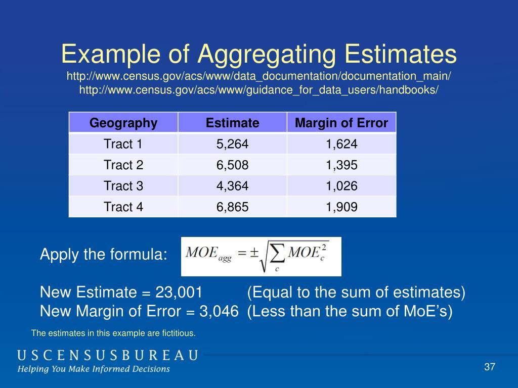 Example of Aggregating Estimates