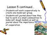 lesson 5 continued