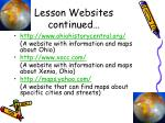 lesson websites continued